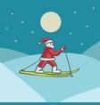 santa claus skiing vector image