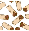 Seamless Pattern with Tasty Mexican Burrito vector image vector image