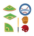 set baseball field and professional equipment vector image vector image
