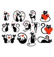set black cats with hearts collection cats vector image