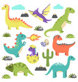 set dinosaurs icons on vector image