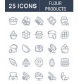 set line icons flour products vector image