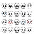 set of different cartoon cute skulls vector image