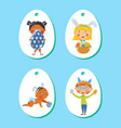 set of easter tags labels with children with eggs vector image vector image