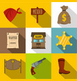 sheriff icons set flat style vector image vector image