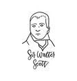 sir walter scott linear sketch portrait isolated vector image vector image