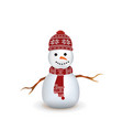 snowman with red knitted scarf and hat vector image vector image