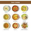 thai food cuisine icons for restaurant menu vector image vector image