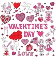 Valentines day doodles set vector image vector image