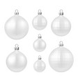 white isolated christmas balls set vector image vector image