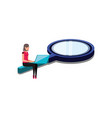 woman with search magnifying glass and laptop vector image vector image