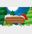 wooden sign with santa hat scene vector image vector image