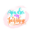 you are my sunshine - hand lettering poster on vector image vector image