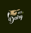 eco dairy logo template milk product vector image