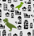 Godzilla destroys city seamless pattern Great vector image