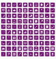 100 diagnostic icons set grunge purple vector image vector image