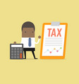 african businessman standing with tax document vector image vector image