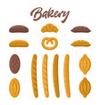 bakery food set different kinds of bread vector image vector image