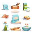 bakery set kitchen utensils and food ingredients vector image