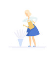 beautiful young blonde woman watering flowers with vector image vector image