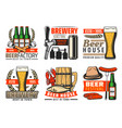 beer bar and brewery pub icons vector image
