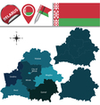 Belarus map with named divisions vector image vector image