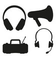 black and white music tech items silhouette vector image