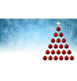 blue background with red christmas tree vector image vector image