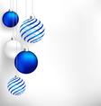 Blue Christmas balls on white vector image vector image