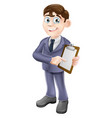 businessman holding survey or clipboard vector image vector image