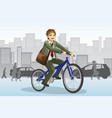 businessman riding bicycle vector image