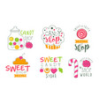 candy shop logo templates set sweet and tasty bar vector image vector image