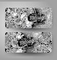 cartoon doodles massage salon 2 horizontal banners vector image vector image