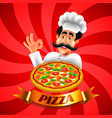 cartoon italian pizza chef on red background vector image vector image