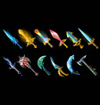 cartoon weapon icons set vector image vector image