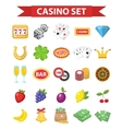Casino icons flat style Gambling set isolated on vector image vector image