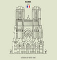 cathedral of notre-dame of reims vector image