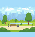 city summer park with green trees bench walkway vector image
