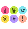 coffee refill water and espresso cream icons set vector image
