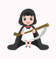 cute kid halloween character in grim reaper vector image