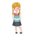 cute school girl character with books vector image vector image