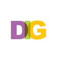 dig phrase overlap color no transparency concept vector image vector image