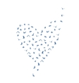 Doves and pigeons set heart shape for peace vector image vector image