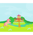 Fairytale landscape with magic castle and pink vector image vector image