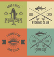 fishing club set vintage emblems vector image vector image