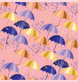 flat colorful umbrellas and drops seamless pattern vector image