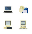 flat icon computer set of computer mouse notebook vector image vector image