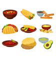 flat set of traditional mexican food bowl vector image vector image