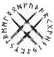 four crossed the vikings sword in a circle of vector image vector image