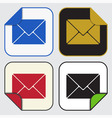 four square sticky icons - mailing envelope vector image